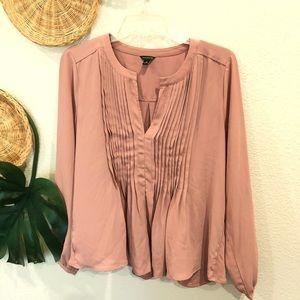 Ann Taylor pink long sleeve blouse Size M